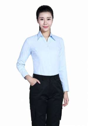 全棉蓝色长袖衬衫